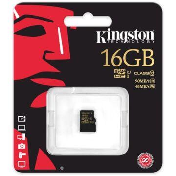 Kingston 16GB Micro SDHC Memóriakártya UHS-I Class 10 (90/45 Mb/S)