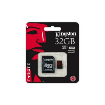 Kingston 32GB Micro SDHC Memóriakártya UHS-I Class U3 (90/80 Mb/S) + Adapter