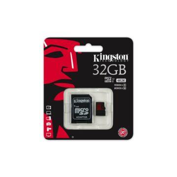 Kingston 32GB Micro SDHC Memóriakártya UHS-I Class U3 (90/80 Mb/S) + Adapter (SDCA3/32GB)