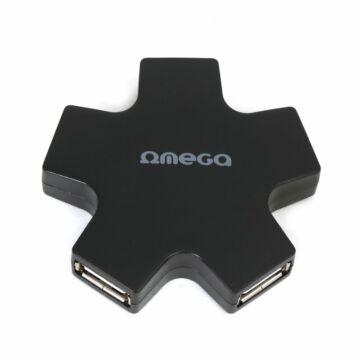 Omega USB 2.0 Hub 4 Port Star Black [42856]