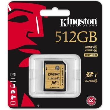 Kingston 512GB SDXC Memóriakártya UHS-I Class 10 (90/45 Mb/S)