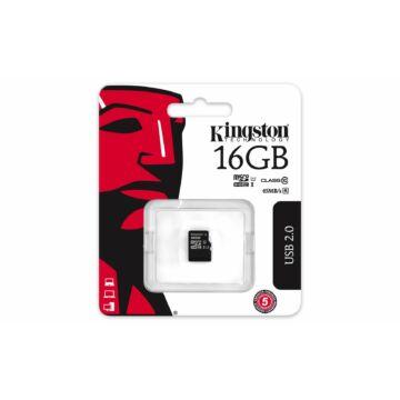 Kingston 16GB Micro SDHC Memóriakártya UHS-I U1 Class 10 (45/10 Mb/S)