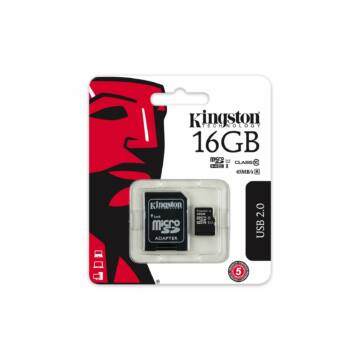 Kingston 16GB Micro SDHC Memóriakártya UHS-I U1 Class 10 + Adapter (45/10 Mb/S)