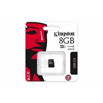 Kingston 8GB Micro SDHC Memóriakártya UHS-I U1 Class 10 (45/10 Mb/S)