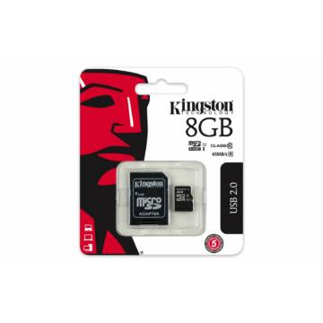 Kingston 8GB Micro SDHC Memóriakártya UHS-I U1 Class 10 + Adapter (45/10 Mb/S)