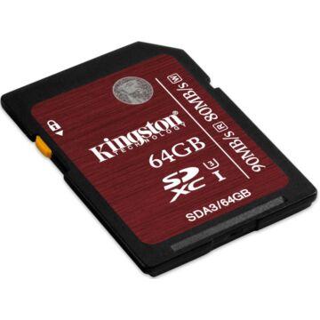 Kingston 64GB SDXC Memóriakártya U3 Class 10 (90/80 Mb/S)