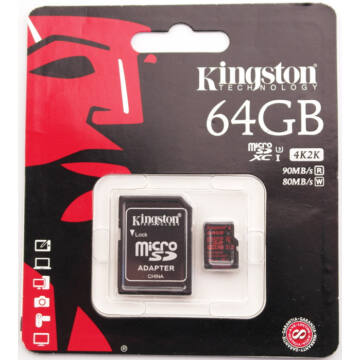 Kingston 64GB Micro SDXC Memóriakártya UHS-I Class U3 (90/80 Mb/S) + Adapter