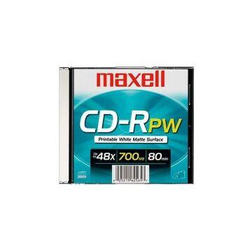 Maxell CD-R 700Mb 52X Matt Fehét Nyomtatható Felületű Lemez, Jwc - Slim Tokban (1)