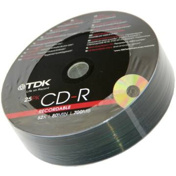 TDK CD-R 52x lemez, Shrink (25)