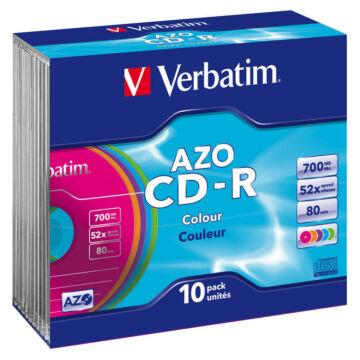 Verbatim CD-R 52X 700Mb Azo Színes Lemezek - Slim Tokban (10)