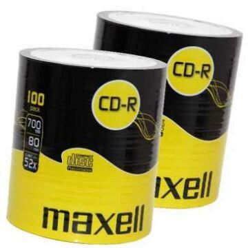 Maxell CD-R 52X Lemez, Shrink 2X100 + Ajándék Maxell Eb-95 Fülhallgató