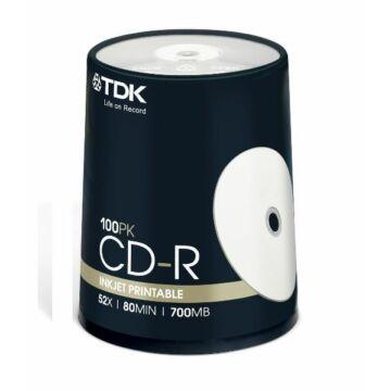 TDK CD-R 52X 700MB nyomtatható lemez, cake(100)