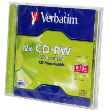 Verbatim CD-RW 12x lemez normál tokban