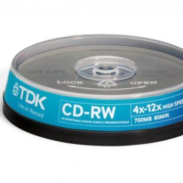 TDK CD-RW 12x lemez, cake 10