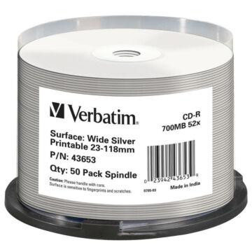 Verbatim CD-R 52X Silver Tintasugarasan Nyomtatható Lemez, NO ID Cake (50)
