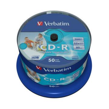 Verbatim CD-R 52x teljes felületén nyomtatható lemez, NO ID cake 50