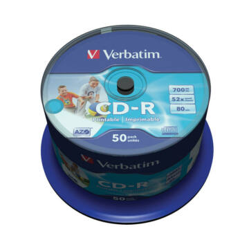 Verbatim CD-R 52X Teljes Felületen Nyomtatható Lemez - Cake (50)