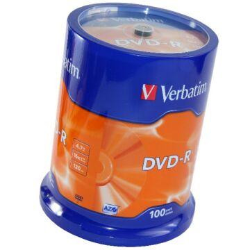 Verbatim DVD-R 16x lemez, cake (100)