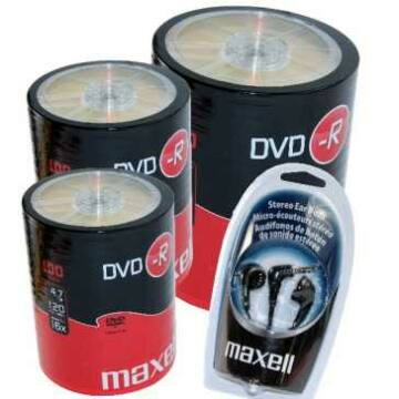 Maxell DVD-R 16X Lemez, Shrink 3X100 + Ajándék Sztereo Fülhallgató