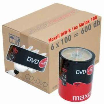 Maxell DVD-R 16x lemez, Shrink 6x100 + Ajándék Maxell Headphones stereo EB-95