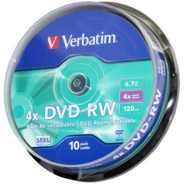 Verbatim DVD-RW 4x lemez, cake (10)