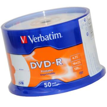 Verbatim DVD-R 16X Teljes Felületén Nyomtatható Lemez /NO ID/ - Cake (50)