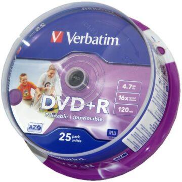 Verbatim DVD+R 16X Teljes Felületén Nyomtatható Lemez - Cake (25)