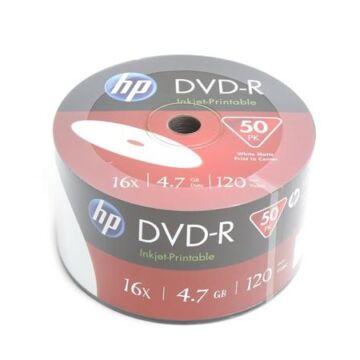 HP DVD-R 16X Teljes Felületén Nyomtatható Lemez, Shrink (50)