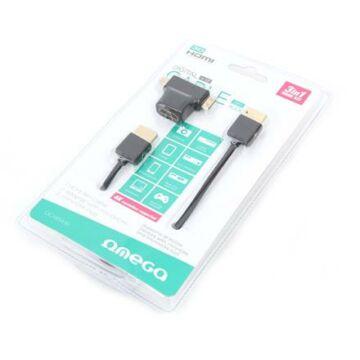 OMEGA HDMI KÁBEL V.1.4 FEKETE+ ADAPTER TO miniHDMI, microHDMI 1,8M 42282