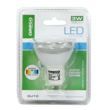 OMEGA LED SPOT izzó Aluminium 6000K GU10 3W 41578