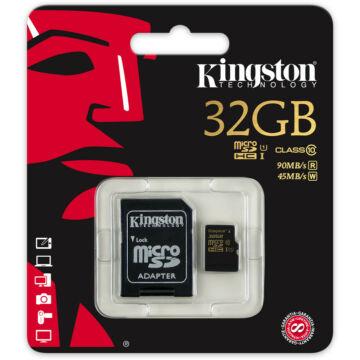 32GB Micro SDHC Kingston UHS-I class 10 R90, W45 + adapter