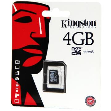 4GB Micro SecureDigital (SDHC) Kingston , Class 4