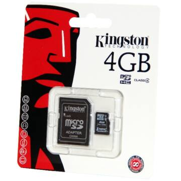 4GB Micro SecureDigital (SDHC) Kingston , Class 4+1adapter