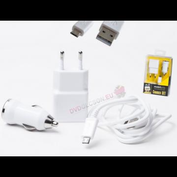 Mobiltelefon Töltő Szett Micro-Usb Fehér Mobilpro 220V+Autós