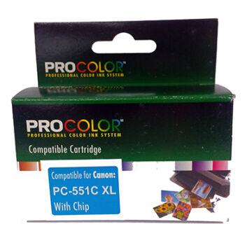 Procolor Canon PC- 551 C XL CHIP kék (cián) utángyátott tintapatron