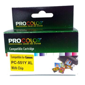 Procolor Canon PC- 551 Y XL CHIP sárga (yellow) utángyátott tintapatron