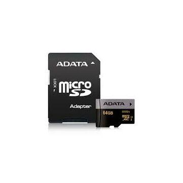 Adata Premier Pro 64GB Micro SDXC Memóriakártya UHS-I U3 Class 10 + Adapter (AUSDX64GUI3CL10-RA1)
