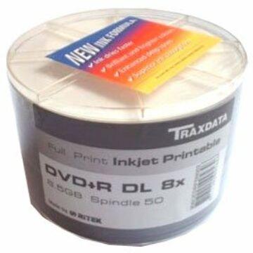 Traxdata DVD+R DL 8X 8,5 gB Teljes Felületén Nyomtatható Lemez - Shrink (50)