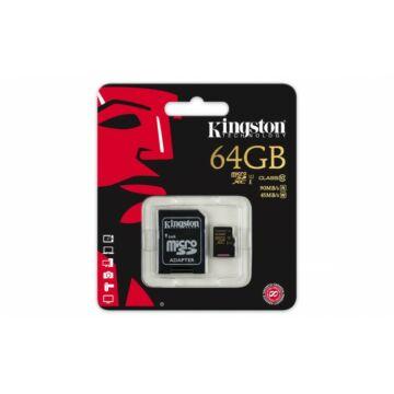 Kingston 64GB Micro SDXC Memóriakártya UHS-I Class 10 (90/45 Mb/S) + Adapter (SDCA10/64GB)
