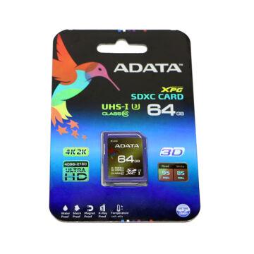 Adata 64GB SDXC Memóriakártya UHS-I U3 Xpg Class 10 (95/85Mb/S) (ASDX64GXUI3CL10-R)