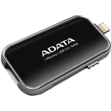 Adata I-Memory Ue710 64GB Pendrive USB 3.1 És Lightning Csatlakozóval, Apple iPhone És Ipad Készülékekhez - Fekete (AUE710-64G-CBK)