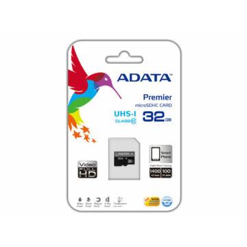 Adata 32GB Micro SDHC Premier Memóriakártya UHS-I Class 10 (AUSDH32GUICL10-R)