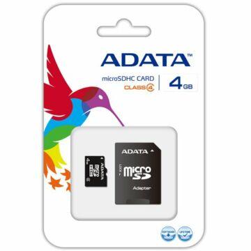 Adata 4GB Micro SDHC Memóriakártya Class 4 + Adapter