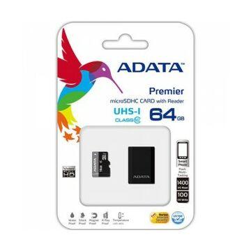 ADATA 64GB MICROSDHC CARD+USB MICRO READER CLASS 10