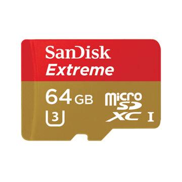 SanDisk Extreme 64GB Micro SDXC Memóriakártya UHS-I U3 V30 Class 10 (90/40 Mb/S) + Adapter