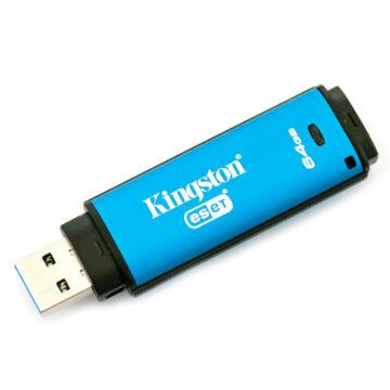 Kingston Dtvp30Av 64GB Pendrive - 256Bit Aes Titkosított + Eset Antivirus - USB 3.0