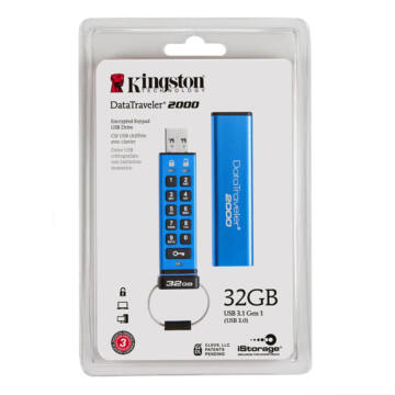 32GB KINGSTON USB 3.0 DT2000 256BIT AES HW KEYPAD