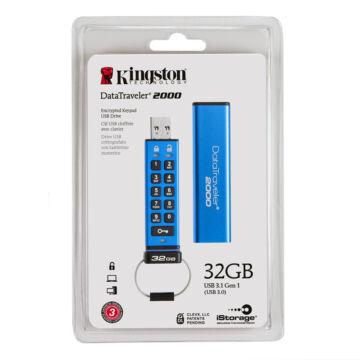 Kingston Dt2000 32GB Pendrive - 256Bit Aes Titkosított, Nyomógombos - USB 3.0 (DT2000/32GB)