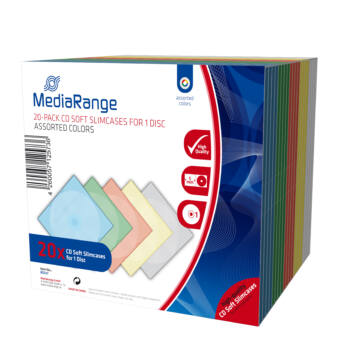 CD-Box 5 mm Single MEDIARANDE assorted colors 20 db
