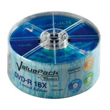 Traxdata DVD-R 16X 4,7 GB Value Pack Lemez - Shrink (25)